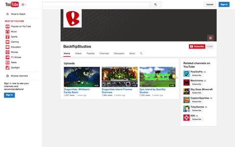 Screenshot of YouTube Page youtube.com - BackflipStudios  - YouTube - captured Oct. 22, 2014