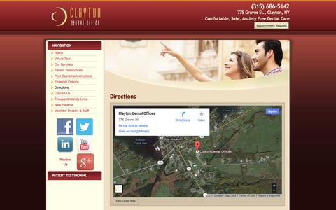 Screenshot of Maps & Directions Page claytondentaloffice.com - Directions   Clayton, NY Dental Office, Dr. Scott LaClair - captured Sept. 29, 2014