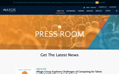 Screenshot of Press Page allegisgroup.com - Press Room - captured Oct. 4, 2017