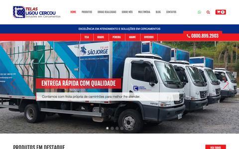 Screenshot of Home Page telasligoucercou.com.br - Telas Ligou Cercou Soluções em cercamentos - Gradil, Telas e Alambrados - captured Dec. 7, 2018