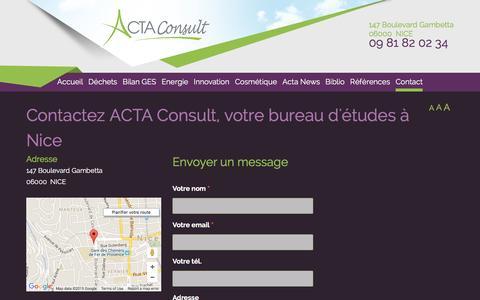 Screenshot of Contact Page acta-consult.com - Contacter bureau d'�tudes Nice - ACTA Consult - captured Dec. 22, 2015