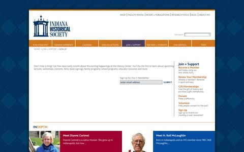 Screenshot of Signup Page indianahistory.org - Sign Up — Indiana Historical Society - captured Sept. 19, 2014