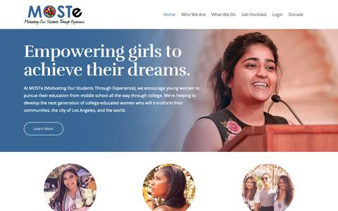Screenshot of Home Page moste.org - Motivating Our Students Through Experience - MOSTe - captured Oct. 1, 2018