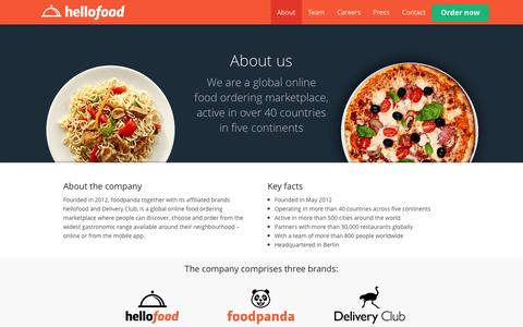 Screenshot of About Page hellofood.com - About | Food Delivery | Order Food Online | hellofood - captured Oct. 31, 2014