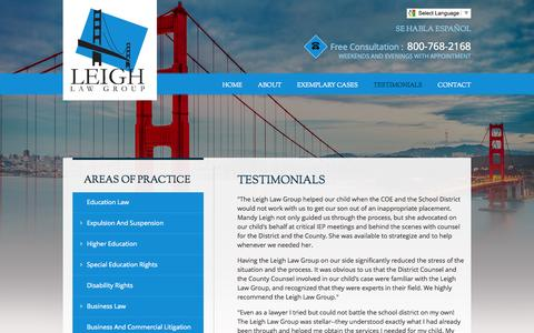 Screenshot of Testimonials Page leighlawgroup.com - Testimonials | Leigh Law Group | San Francisco, California - captured July 21, 2015