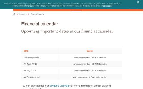 Screenshot of gsk.com - Financial calendar | GSK - captured Jan. 22, 2018
