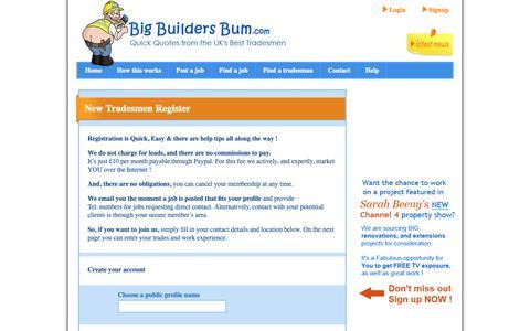 Screenshot of Signup Page bigbuildersbum.com - Find Local Jobs - Register Now - BigBuildersBum.com - captured Oct. 5, 2018