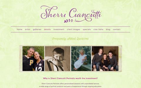 Screenshot of FAQ Page sherriciancuttiportraits.com - FAQS - captured Sept. 30, 2014