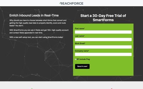 Screenshot of Trial Page reachforce.com - SmartForms Free Trial:  Verify and Enrich Inbound Leads - captured Sept. 19, 2018