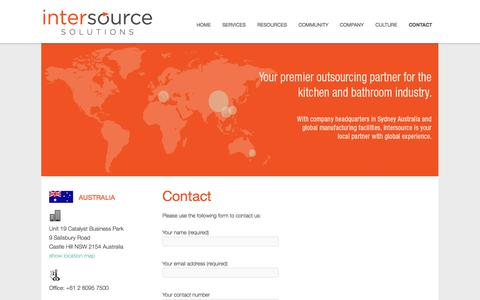 Screenshot of Contact Page intersource.co - Intersource Solutions Contact Details | Intersource Solutions - captured Oct. 6, 2014
