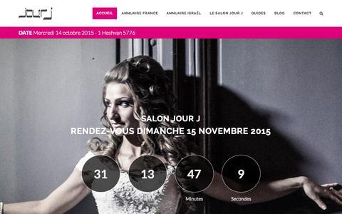 Screenshot of Home Page guide-jourj.com - Guide Jour J - Mariage Juif - L'indispensable de la réception juive en France et en Israël - Bar Mitzvah - réception juive - captured Oct. 14, 2015