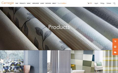 Screenshot of Products Page carnegiefabrics.com - Products   Carnegie Fabrics - captured Oct. 25, 2016