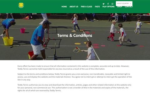 Screenshot of Terms Page teddytennis.com - Terms & Conditions | Teddy Tennis - Children's Tennis Lessons - captured Oct. 11, 2018