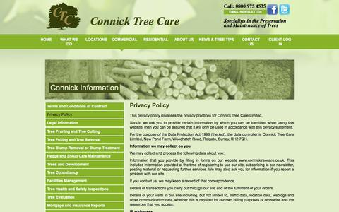 Screenshot of Privacy Page connicktreecare.co.uk - Commercial Tree Surgeons & Tree Maintenance | Connick Tree Care - captured July 20, 2018