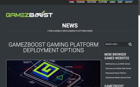 Screenshot of Press Page gamezboost.com - News  –  GameZBoost – White Label Gaming and Tournaments Solutions & Platforms – HTML5 Mobile, Desktop & App Games - captured Oct. 19, 2018