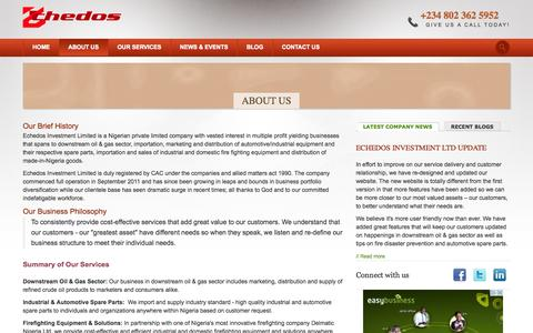 Screenshot of About Page echedos.com - About Echedos Investment Limited Lagos Nigeria - captured Oct. 1, 2014