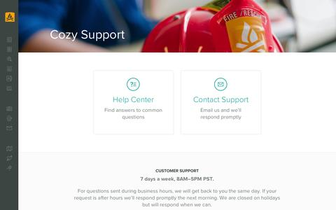 Screenshot of Support Page cozy.co - Cozy Help Center - captured Dec. 1, 2015
