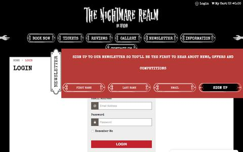 Screenshot of Login Page thenightmarerealm.ie - The Nightmare Realm - Login - captured Sept. 21, 2018
