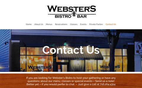 Screenshot of Contact Page webstersbistro.com - Contact Us | Webster's Bistro - captured Oct. 24, 2018