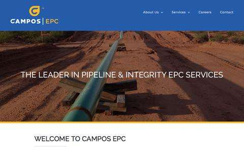 Screenshot of Home Page camposepc.com - Campos | EPC – The leader in pipeline & integrity EPC services - captured July 15, 2018