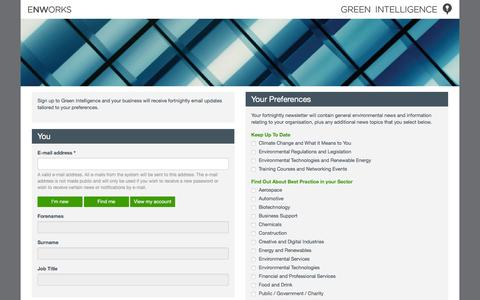Screenshot of Signup Page greenintelligence.org.uk - Green Intelligence - Sign Up | Green Intelligence - captured March 2, 2016