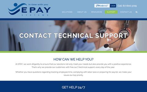 Screenshot of Support Page epaysystems.com - Contact Support - captured Dec. 3, 2015