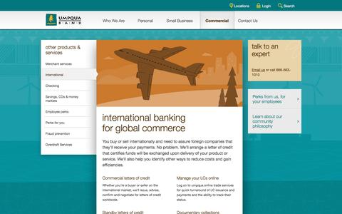 Umpqua Bank international banking for global commerce -- commercial banking
