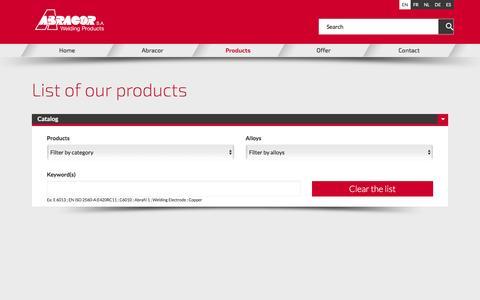 Screenshot of Products Page abracor.com - Range of products offered by ABRACOR - captured Dec. 22, 2015
