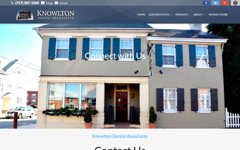 Screenshot of Contact Page knowltondental.com - Contact Us – Knowlton Dental Elizabethtown PA - captured Oct. 22, 2018