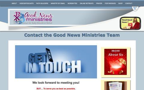 Screenshot of Contact Page gnm.org - Contact Us at Good News Ministries | Good News Ministries - captured Oct. 27, 2016