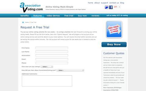 Screenshot of Trial Page associationvoting.com - Free Trial - captured Oct. 4, 2014