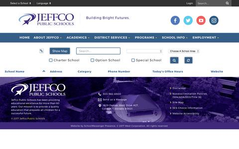 Screenshot of Locations Page jeffcopublicschools.org - School Directory - Jeffco Public Schools - captured Aug. 18, 2017