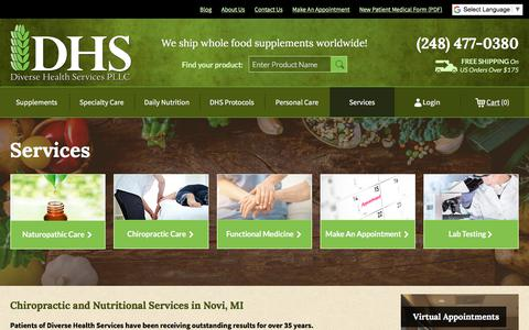 Screenshot of Services Page diversehealthservices.com - Chiropractic and Nutritional Services in Novi, MI - captured Aug. 7, 2018