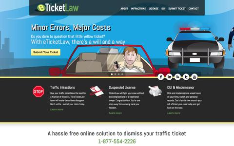 Screenshot of Home Page eticketlaw.com - eTicketLaw | Fight and Dismiss Your Traffic Tickets Online - captured Sept. 30, 2014