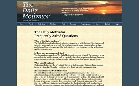 Screenshot of FAQ Page greatday.com - Daily Motivator FAQ - captured Nov. 2, 2014
