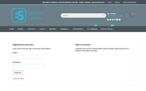 Screenshot of Login Page essentialsupplies.co.uk - Customer Login - captured Dec. 8, 2018