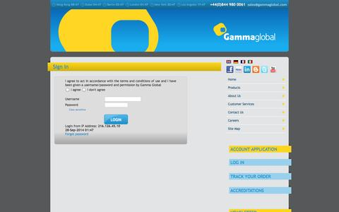 Screenshot of Login Page gammaglobal.com - Gamma Global - HP Compaq and IBM IT Distributor and Wholesaler - also APC, Avocent, Cyclades, SUN, 3Com and CISCO computer products supplied - captured Sept. 29, 2014