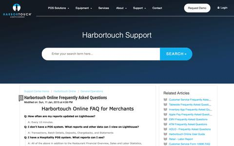 Screenshot of FAQ Page harbortouch.com - Harbortouch Online Frequently Asked Questions : Harbortouch Support Center - captured Oct. 9, 2018