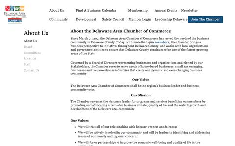 Screenshot of About Page delawareareachamber.com - About Us — Delaware Area Chamber of Commerce - captured Oct. 12, 2017