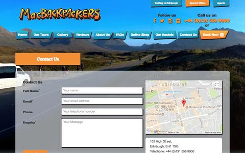 Screenshot of Contact Page macbackpackers.com - MacBackpackers | Contact Us - captured Sept. 27, 2017