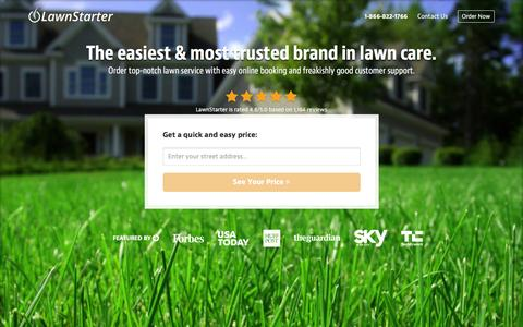 Screenshot of Home Page lawnstarter.com - LawnStarter, The Easiest Way To Order Lawn Care | Get a Quote in Seconds - captured Feb. 18, 2016