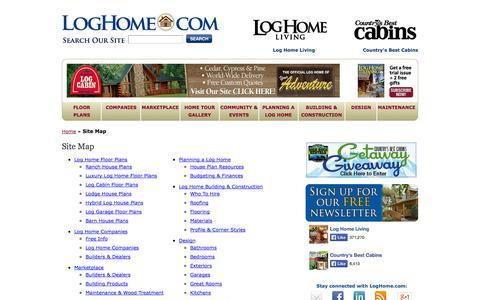 Screenshot of Site Map Page loghome.com - Site Map - LogHome.com - LogHome.com - captured Sept. 23, 2014