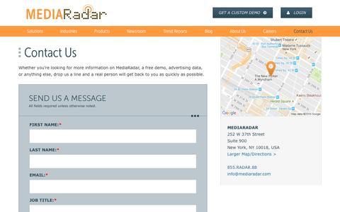 Screenshot of Contact Page mediaradar.com - Contact Us   MediaRadar - captured Nov. 13, 2016