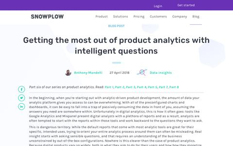 Screenshot of FAQ Page snowplowanalytics.com - Getting the most out of product analytics with intelligent questions - captured Feb. 10, 2020