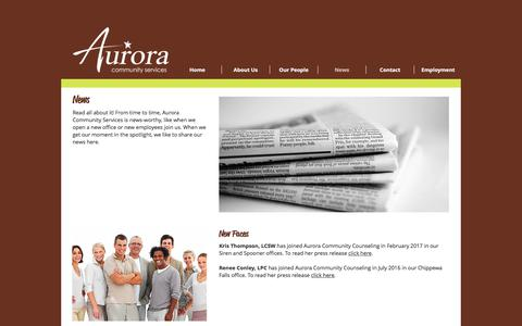 Screenshot of Press Page auroraservices.com - Aurora Community Services/News - captured Oct. 9, 2017