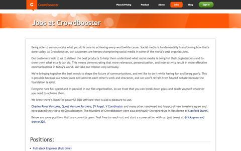 Screenshot of Jobs Page crowdbooster.com - Work at Crowdbooster - captured Sept. 13, 2014