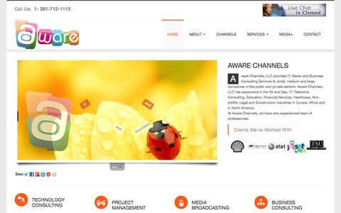 Screenshot of Home Page awarechannels.com - AWARE CHANNELS provides IT Services, Media Solutions, Project Consulting and  Business Management Services to local Businesses in Houston. - captured Sept. 30, 2014