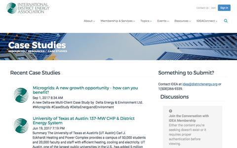 Screenshot of Case Studies Page districtenergy.org - Case Studies - International District Energy Association - captured Oct. 15, 2017