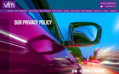 Screenshot of Privacy Page vfmscotland.com - VFM Fleet Management, Fleet Consultancy, Fleet Refinance & Leasing - captured Sept. 21, 2018