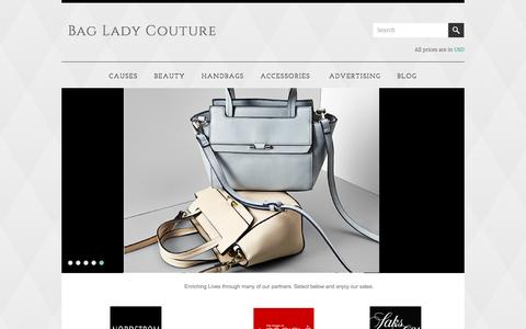 Screenshot of Home Page bagladycouture.com - Bag Lady Couture - captured June 27, 2016